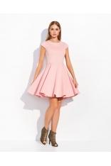 Różowa Rozkloszowana Sukienka Koktajlowa z Niewielkim Rękawkiem