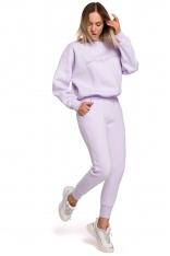 Uniwersalne Dresowe Spodnie na Gumie - Liliowe