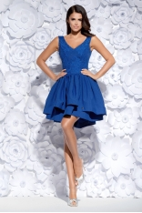 Chabrowa Sukienka Asymetryczna z Koronką
