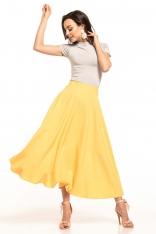 Żółta Midi Spódnica z Koła
