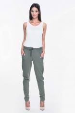 Khaki Dresowe Spodnie z Lampasami