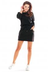Czarna Krótka Sukienka Bawełniana Ściągana w Pasie
