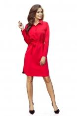 Czerwona Krótka Koszulowa Sukienka z Paskiem