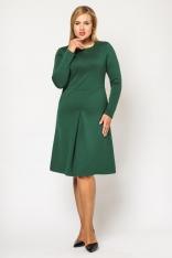 Klasyczna Zielona Sukienka Z Kontrafałdą z Długim Rękawem PLUS SIZE