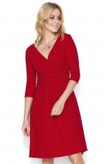 Czerwona Dresowa Sukienka z Dekoltem V