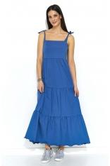 Jeansowa Maxi Sukienka z Falbankami na Ramiączkach