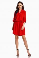 Czerwona Koszulowa Sukienka z Kopertowym Dekoltem