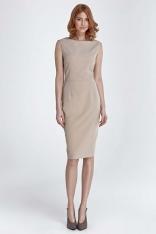 Beżowa Sukienka Klasyczna Dopasowana bez Rękawów