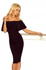 Matowo Czarna Sukienka Ołówkowa z Hiszpańskim Dekoltem