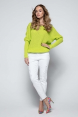 Limonkowy Sweter z Dekoltem V na Plecach