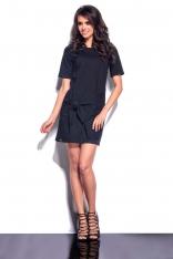 Czarna Mini Sukienka z Wiązaną Nakładką