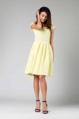 Żółta Ponadczasowa Sukienka z Układanym Dołem