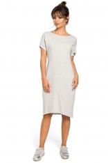 Dresowa Jasnoszara Sukienka Midi z Kieszeniami w Szwach