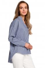 Granatowa Nowoczesna Koszula w Kratę na Stójce