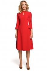 Czerwona Sukienka Wizytowa z Rozkloszowanymi Rękawami