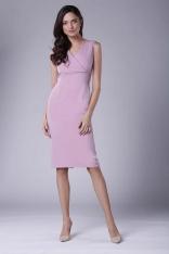 Różowa Ołówkowa Sukienka Midi bez Rękawów z Kopertowym Dekoltem