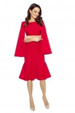 Czerwona Sukienka Wizytowa z Falbanką