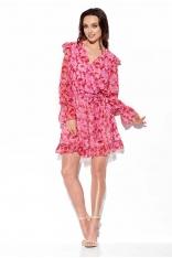 Wzorzysta Sukienka Kopertowa - Druk 17