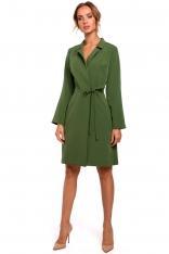 Zielona Sukienka Żakietowa z Rozszerzanymi Rękawami