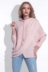 Pudrowy Sweter z Troczkami przy Dekolcie