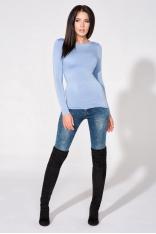 Niebieska Bluzka Dzianinowa z Dekoltem na Plecach
