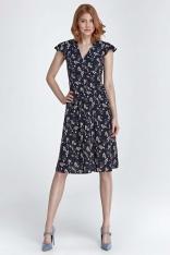 Granatowa Sukienka Rozkloszowana z Kwiatowym Wzorem