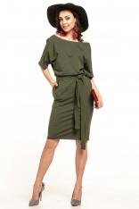 Zielona Dzianinowa Sukienka z Kimonowym Krótkim Rękawem