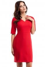 Czerwona Ołówkowa Sukienka Midi z Dekoltem w Szpic
