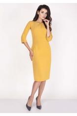 Żółta Sukienka Midi z Rękawem za Łokieć