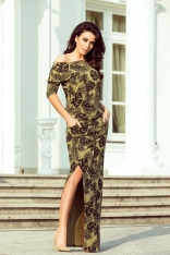 Khaki Dzianinowa Maxi Sukienka w Liście z Rozporkiem