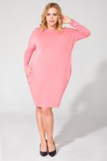 Różowa Luźna Dzianinowa Sukienka Midi z Długim Rękawem Plus Size