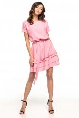 Różowa Rozkloszowana Sukienka z Falbankami
