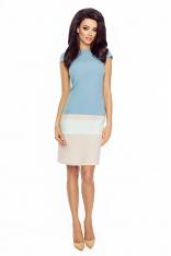 Niebiesko-ecru Wielobarwna Sukienka z Krótkim Rękawem