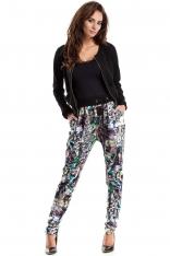 Kolorowe Spodnie z Troczkami w Pasie Wzór Gemetryczny