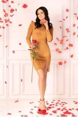 Kamelowa Ołówkowa Sukienka ze Stójką