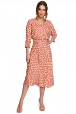 Midi Sukienka w Grochy z Nietoperzowym Rękawem - Łososiowa