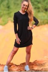 Czarna Luźna Sukienka z Cienkiej Dzianiny