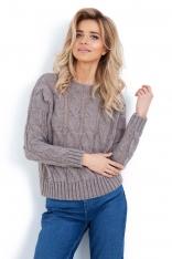 Latte Sweter z Warkoczowym Splotem