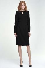 Czarna Sukienka Ołówkowa Midi z Łezką przy Dekolcie