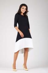 Czarna Wyjściowa Asymetryczna Sukienka z Kontrastowym Dołem