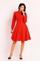 Czerwona Stylowa Sukienka Polo z Szerokim Dołem