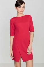 Czerwona Elegancka Sukienka z Asymetrycznym Rozporkiem