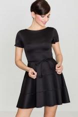 Rozkloszowana Sukienka z Krótkim Rękawem - Czarna
