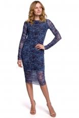 Ołówkowa Sukienka z Drukowanej Koronki - Model 1