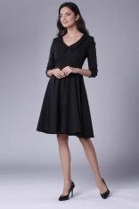 Czarna Rozkloszowana Sukienka z Ozdobnym Kołnierzykiem