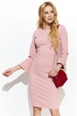 Różowa Klasyczna Dopasowana sukienka z Poszerzanym Rękawem