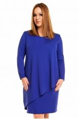 Dzianinowa Niebieska Sukienka z Nakładaną Górą