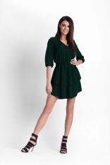Zielona Rozkloszowana Dziewczęca Sukienka z Dekoltem V