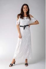 Ecru Koronkowa Sukienka Maxi Inspirowana Hiszpańskim Stylem