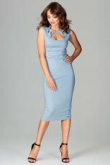 77f70046d0 Niebieska Klasyczna Ołówkowa Sukienka Midi z Ozdobnym Dekoltem